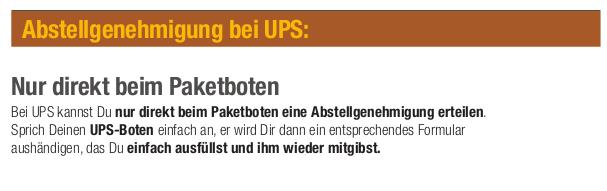 Ablagegenehmigung UPS